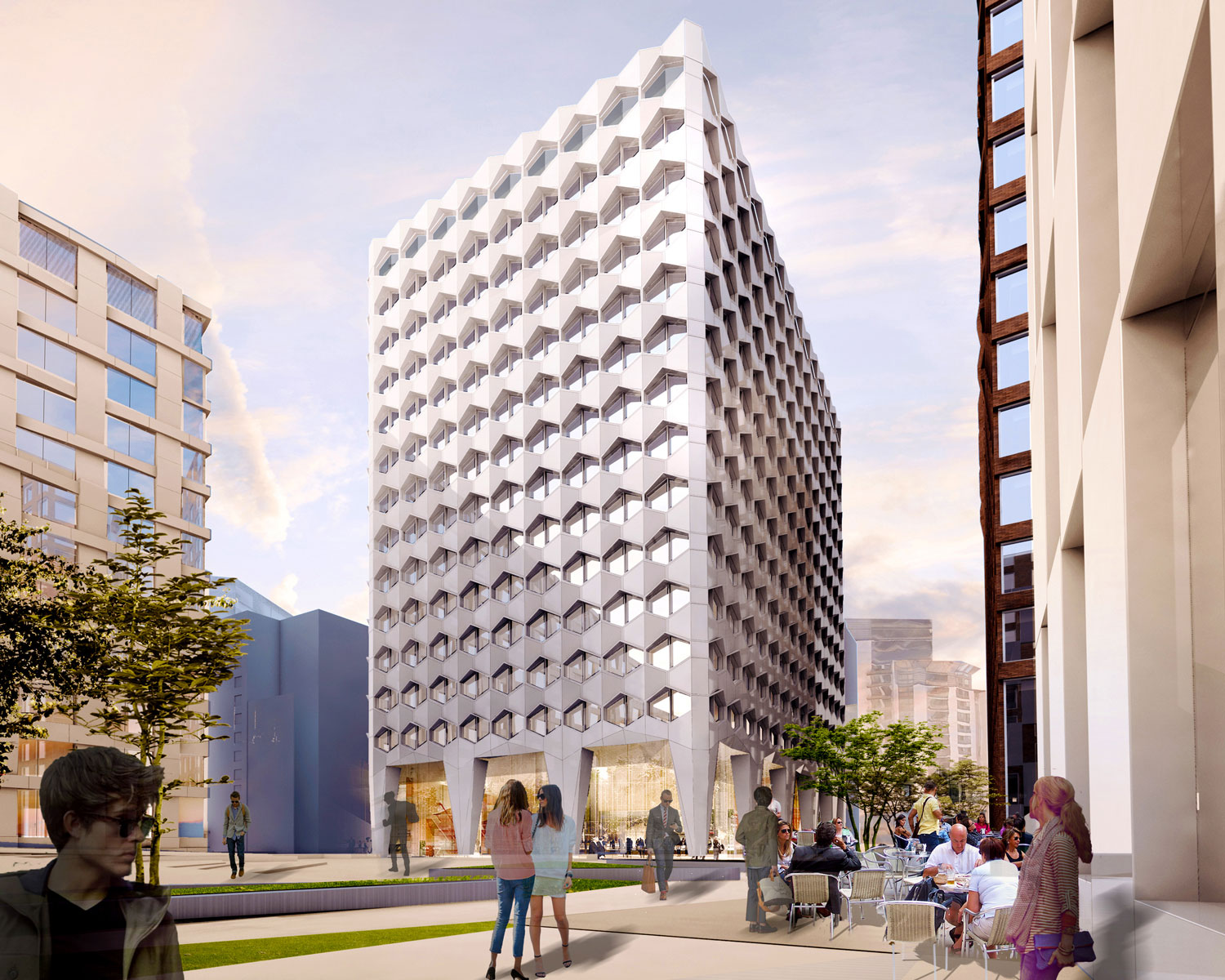 A public square containing a building with a hexagonal pattern, CGI