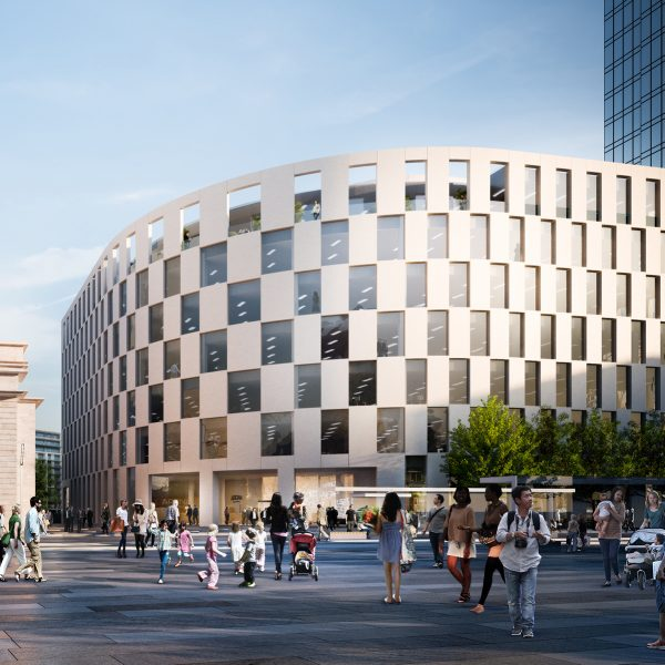 A public square with a curved building, CGI